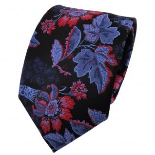 TigerTie Seidenkrawatte blau brillantblau dunkelblau rot gemustert - Krawatte