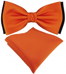 doppelfarbige TigerTie Fliege + Einstecktuch in orange schwarz Uni + Box
