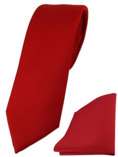 schmale TigerTie Designer Krawatte + Einstecktuch in verkehrsrot einfarbig uni