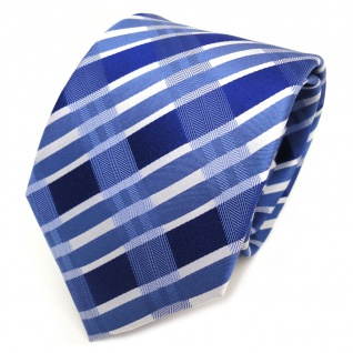 TigerTie Seidenkrawatte blau royal marine silber kariert - Krawatte Seide Tie