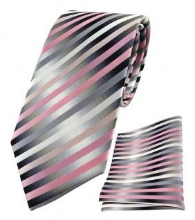 TigerTie Seidenkrawatte + Einstecktuch in rosa anthrazit silber gestreift