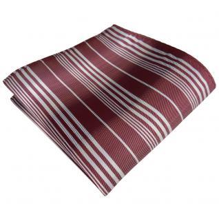 TigerTie Einstecktuch in rot bordeaux weinrot silber grau gestreift - Tuch