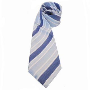 Mexx Seidenkrawatte blau hellblau weiß creme gestreift - Krawatte Seide Binder