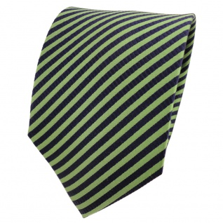 TigerTie Designer Seidenkrawatte grün blau royal gestreift - Krawatte Seide