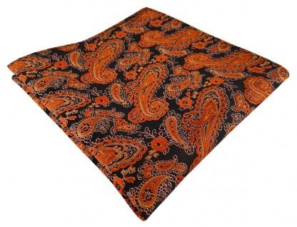TigerTie Designer Einstecktuch in orange schwarz silber Paisley - Gr. 30 x 30 cm
