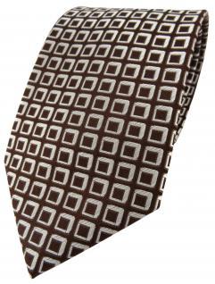 Seidenkrawatte in braun dunkelbraun silber kariert - Krawatte Seide Silk Tie