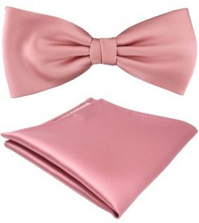 TigerTie Satin Fliege + Einstecktuch rosa hellrosa Uni Einfarbig + Geschenkbox