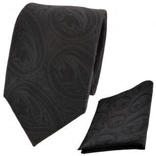 TigerTie Krawatte + Einstecktuch schwarz schwarzgrau olivschwarz paisley