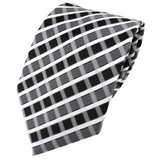 TigerTie Designer Krawatte in anthrazit grau silber weiss gestreift - Tie Binder