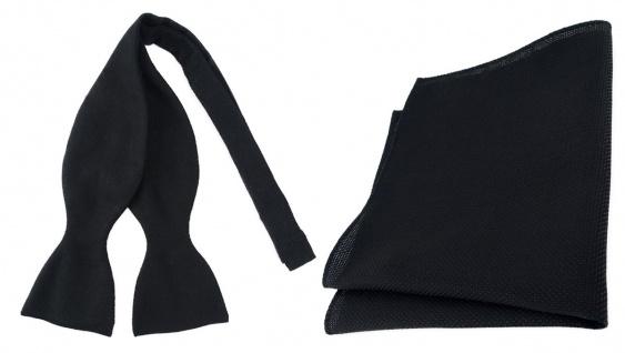 TigerTie Designer Selbstbinder Pique + Einstecktuch in schwarz gemustert + Box