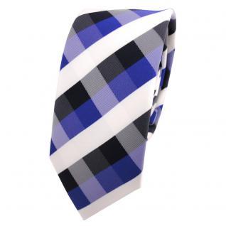 Schmale Designer Krawatte blau royal kobaltblau weiß kariert - Schlips Binder