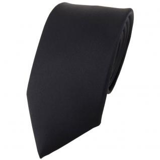 Modische TigerTie Satin Seidenkrawatte schwarz einfarbig - Krawatte 100% Seide