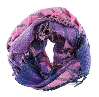 Halstuch rosa lila violett grau grün schwarz mit Fransen -Glitzerfaden eingewebt