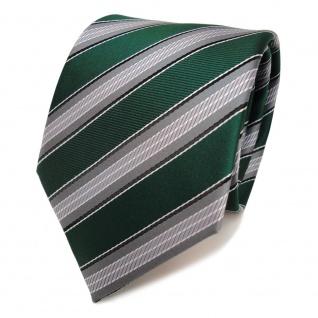 TigerTie Krawatte grün moosgrün grau silber schwarz gestreift - Schlips Binder