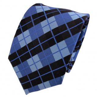 TigerTie Designer Seidenkrawatte blau himmelblau schwarz kariert- Krawatte Seide