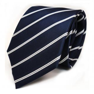 TigerTie Seidenkrawatte blau kobaltblau weiss gestreift - Krawatte Seide Tie