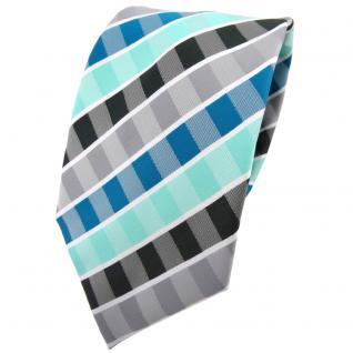 TigerTie Krawatte türkis mint wasserblau grau anthrazit weiß gestreift - Binder