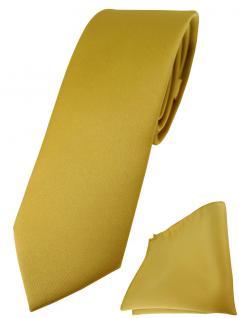 schmale TigerTie Designer Krawatte + Einstecktuch in gold einfarbig uni