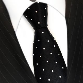 TigerTie Designer Seidenkrawatte schwarz weiss gepunktet - Krawatte 100% Seide - Vorschau 3