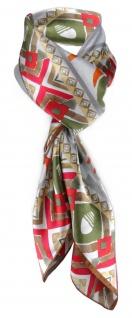 Halstuch in orange rot olive grün gold silber grau Satin gemustert - 95 x 95 cm