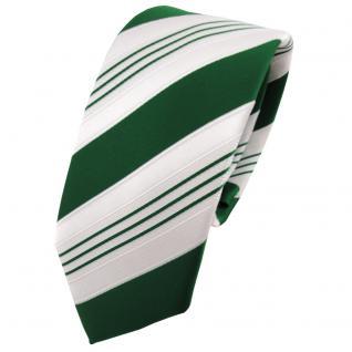 Schmale TigerTie Satin Krawatte grün dunkelgrün weiß silber gestreift - Binder