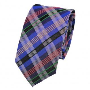 Schmale Designer Seidenkrawatte blau orange grün anthrazit gestreift - Krawatte