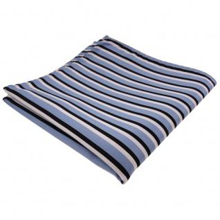TigerTie Einstecktuch in blau graublau schwarz weiß - Tuch 100% Polyester