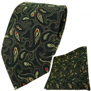 TigerTie Krawatte + Einstecktuch in tannengrün rot gold schwarz Paisley