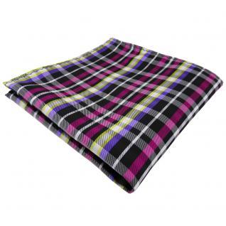 TigerTie Einstecktuch magenta lila gelb schwarz silber kariert - Tuch Polyester
