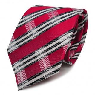Designer Seidenkrawatte rot weiss blaugrau dunkelblau gestreift - Krawatte Seide
