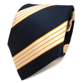 TigerTie Designer Seidenkrawatte blau royal orange creme gestreift