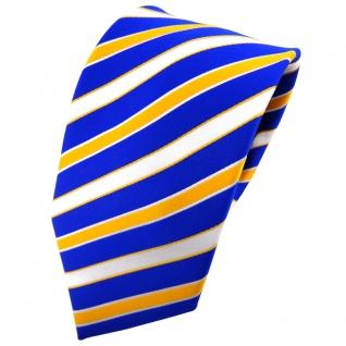 TigerTie Krawatte blau royal gelb sonnengelb weiß gestreift - Binder Tie