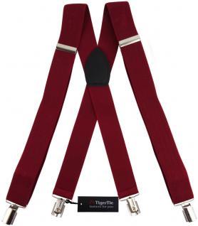 breiter TigerTie Herren Hosenträger mit 4 Clips X-Form - Farbe bordeaux weinrot