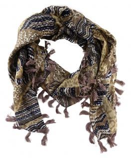 Halstuch in beige braun grau schwarzblau gemustert und Fransen an den Ecken