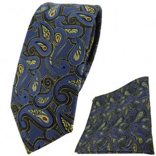 schmale TigerTie Krawatte + Einstecktuch in blau gold rot schwarz Paisley