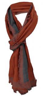TigerTie Schal in rostbraun anthrazit Uni mit kleinen Fransen- Gr. 180 x 50 cm