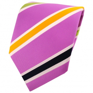 TigerTie Krawatte rosa dunkelrosa gelb grün dunkelblau creme gestreift - Binder
