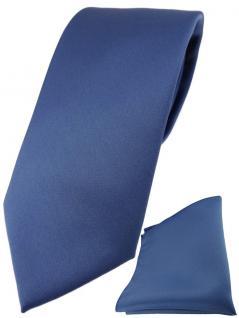 TigerTie Designer Krawatte + TigerTie Einstecktuch in capriblau einfarbig uni