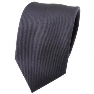 Seidenkrawatte anthrazit Uni Rips, Krawatte 100% Seide, Breite 7cm x 150cm Länge