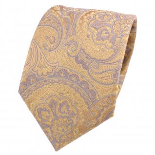 Designer Seidenkrawatte gold beige grau Paisley gemustert - Krawatte Seide Silk