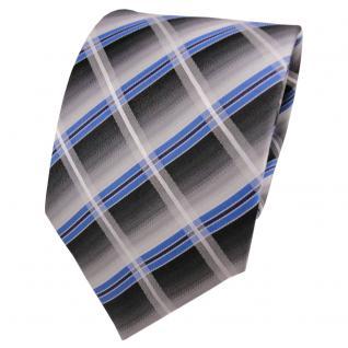 TigerTie Seidenkrawatte blau grau anthrazit silber kariert - Krawatte Seide Silk