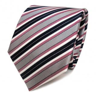 Designer Seidenkrawatte rot grau blau dunkelblau creme gestreift - Krawatte Tie