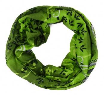 TigerTie Multifunktionstuch in grün grau weiss Paisley - Tuch Schal Schlauchtuch