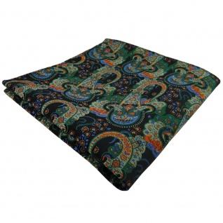 TigerTie Einstecktuch grün dunkelgrün orange blau Paisley - Tuch 100% Polyester