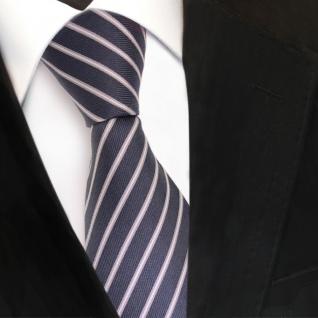 Designer Seidenkrawatte grau blaugrau silber weiss gestreift - Krawatte Binder