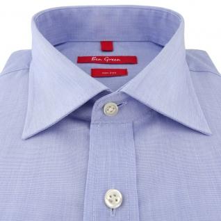 Ben Green Herrenhemd hellblau Uni langarm bügelfrei - New-Kent-Kragen Hemd Gr.41 - Vorschau 2