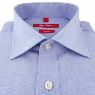 Ben Green Herrenhemd hellblau Uni langarm bügelfrei - New-Kent-Kragen Hemd Gr.47 - Vorschau 2