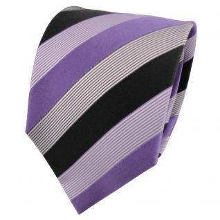 TigerTie Seidenkrawatte lila flieder anthrazit silber gestreift - Krawatte Tie