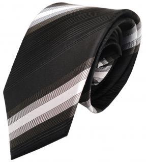 Seidenkrawatte dunkelbraun schwarzbraun silber gestreift - Krawatte 100% Seide