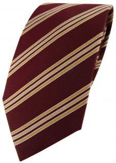 TigerTie Seidenkrawatte rot weinrot gold gestreift - Tie Krawatte 100% Seide